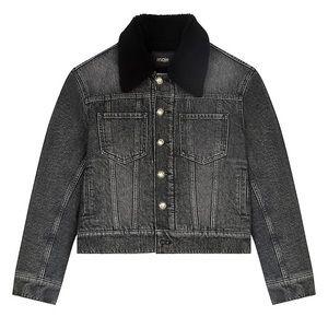 Maje Anthracite Biche Faux Fur-Trim Jacket